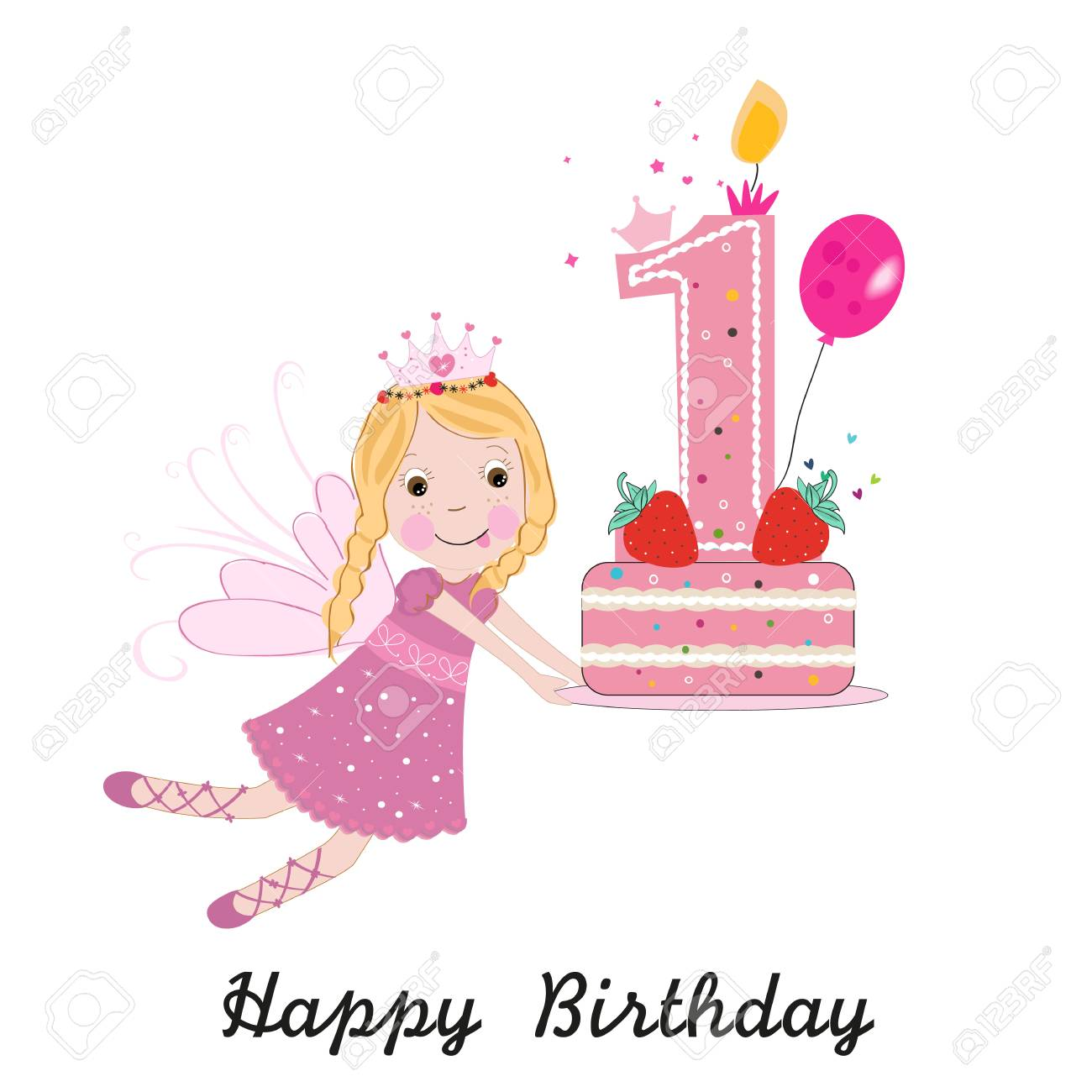 Super First Birthday Greeting Card Cute Fairy Holding Cake Royalty Free Funny Birthday Cards Online Amentibdeldamsfinfo