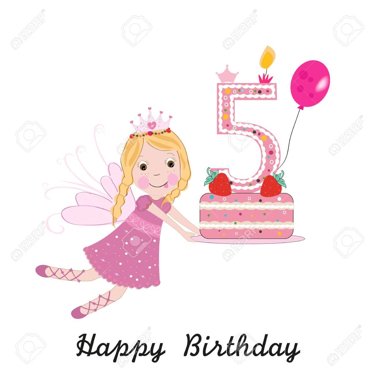 Fifth birthday greeting card. Cute fairy holding cake - 109848839
