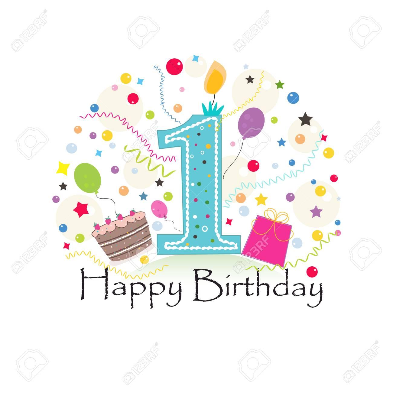 First Birthday Greeting Card Standard Bild