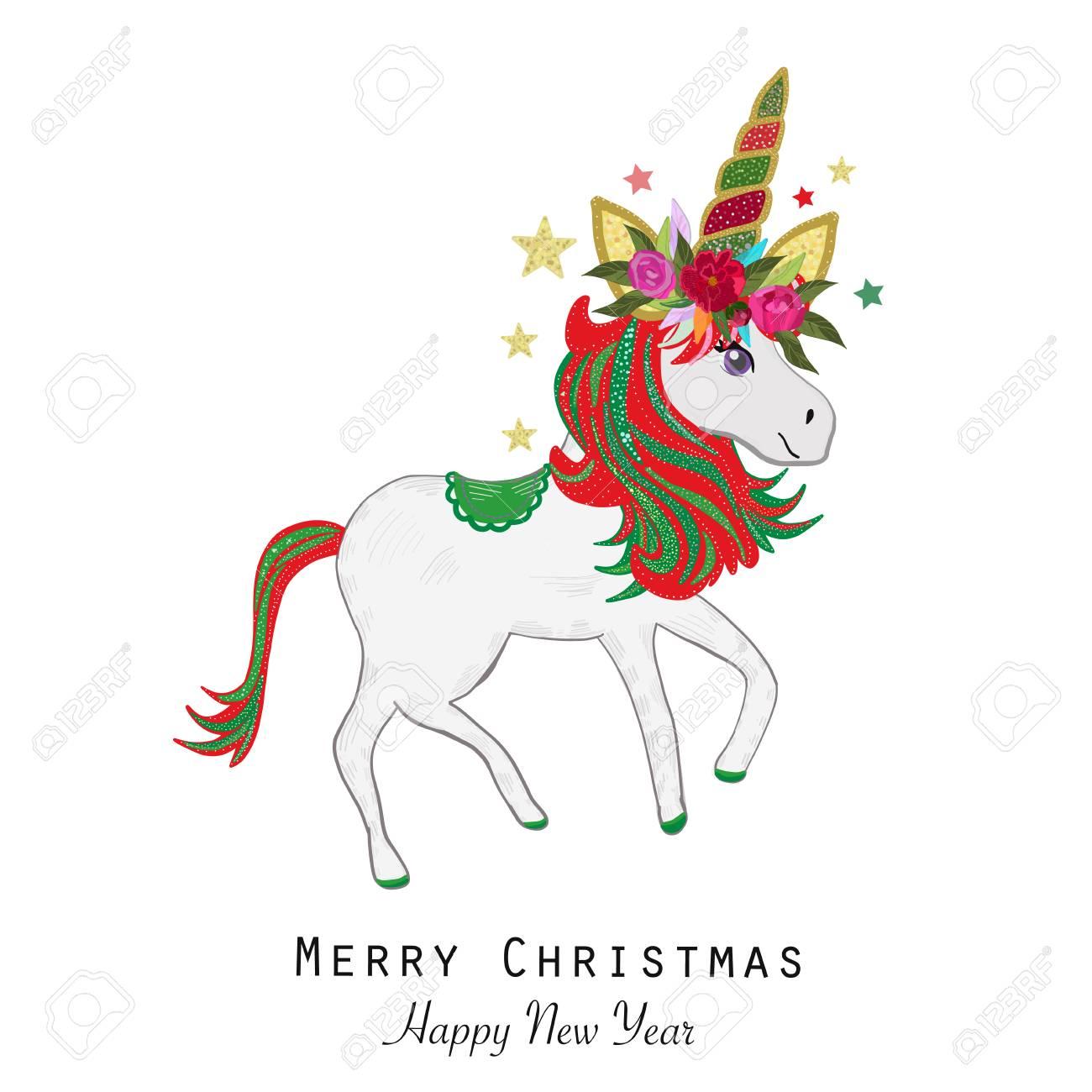 Christmas Unicorn.Magical Unicorn Greeting Card Merry Christmas And Happy New