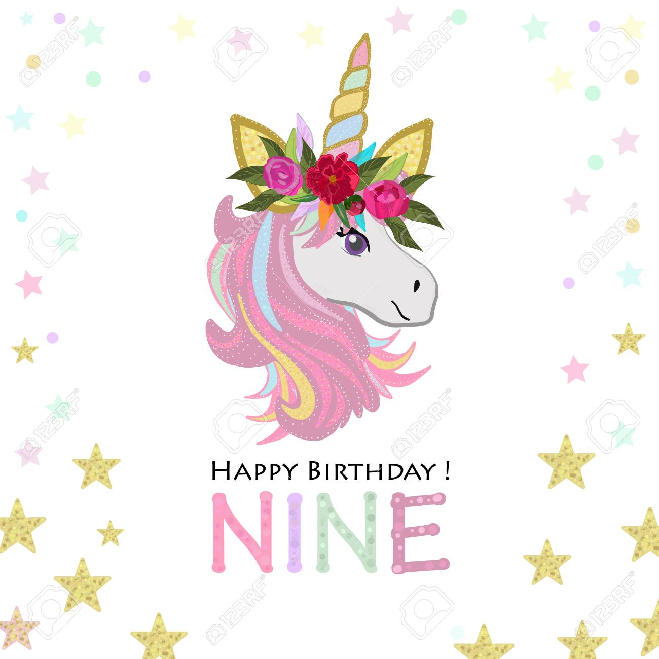 Grandma Unicorn Birthday Invitation Party Greeting Card Stock Vector