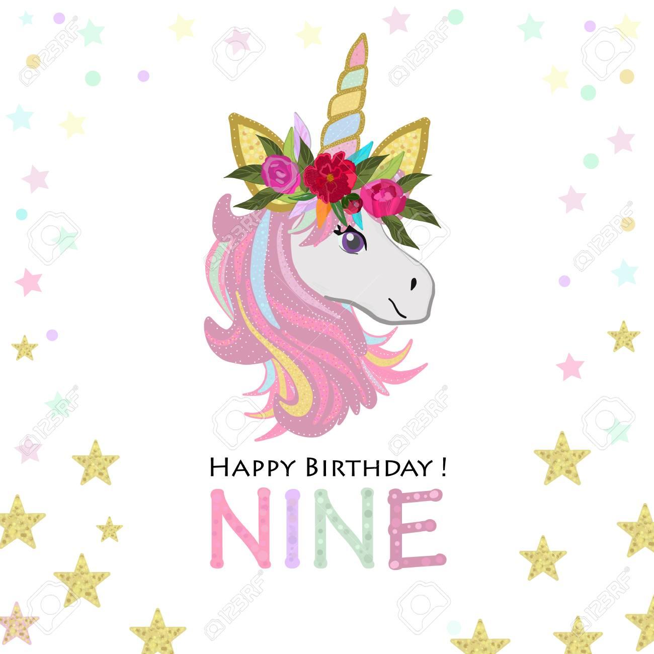 Grandma Unicorn Birthday Invitation Party Greeting Card Stock Vector