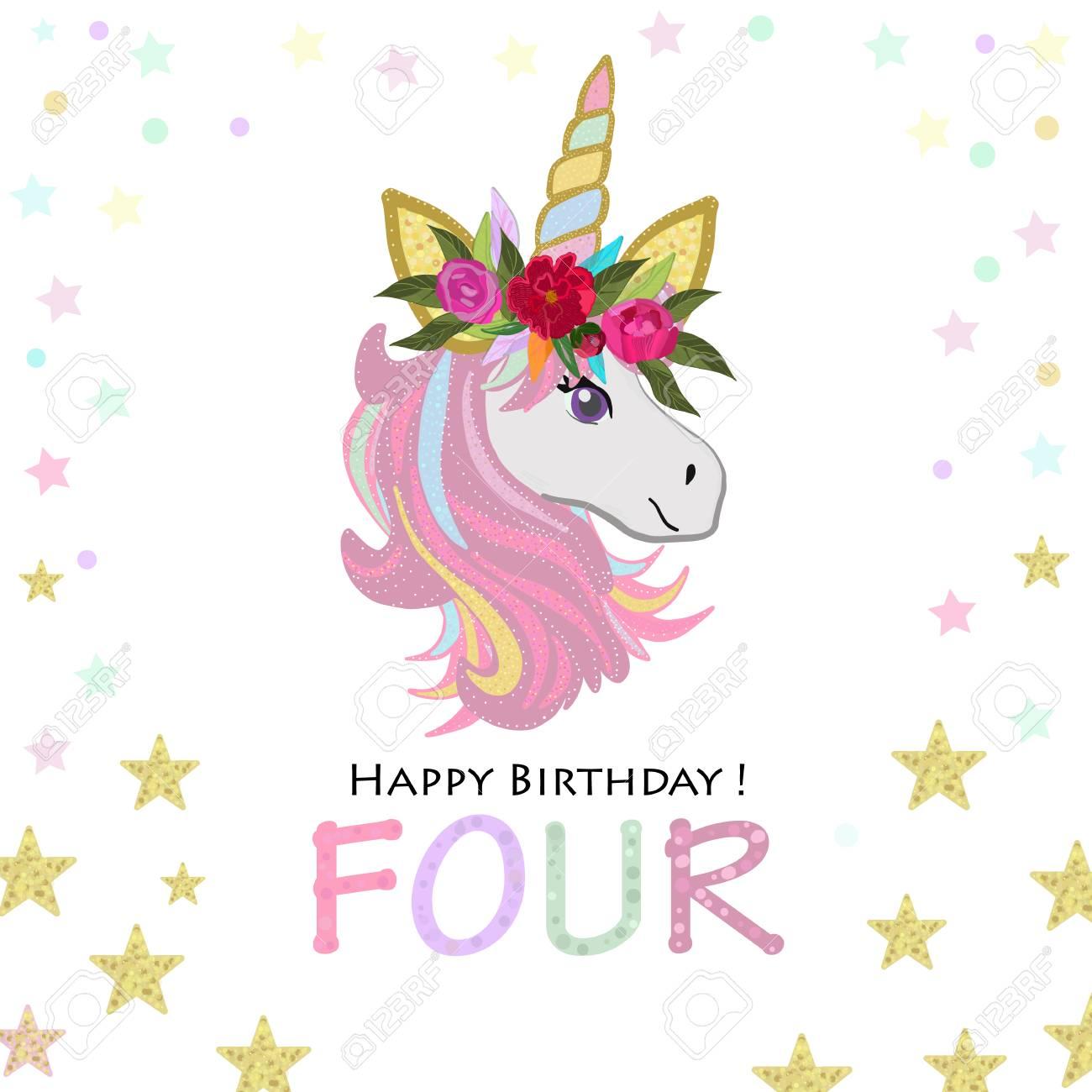 Four Birthday Greeting Fourth Magical Unicorn Birthday Invitation