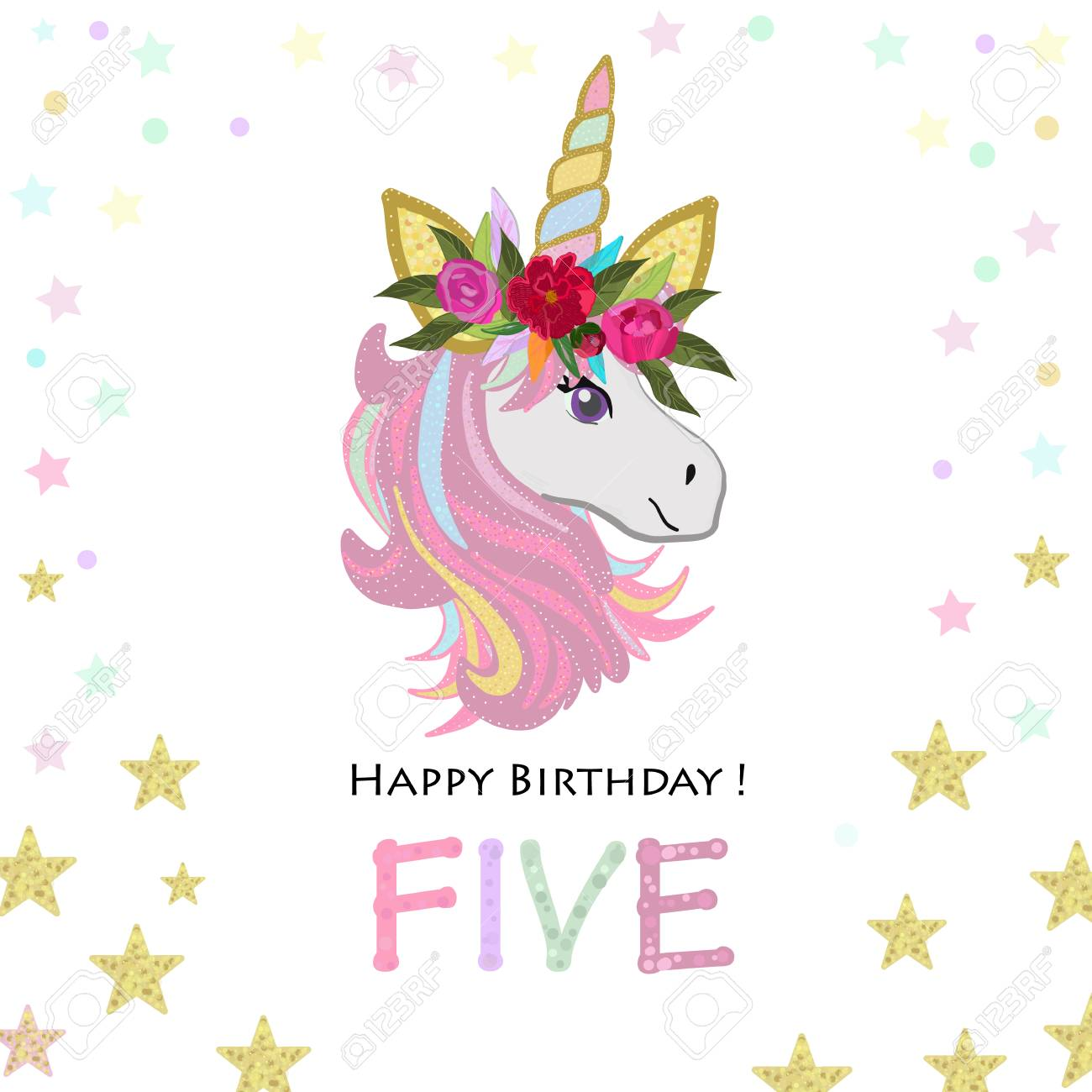 Fifth Birthday Five Unicorn Invitation Party Greeting Card Stock Vector