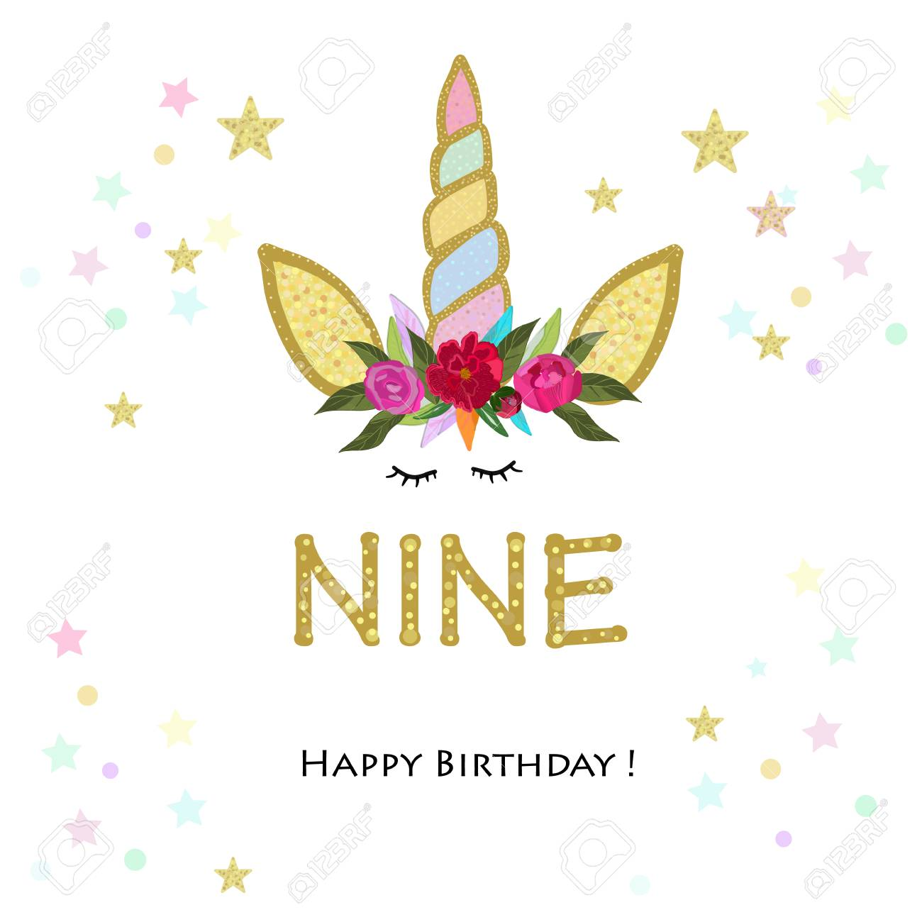 Nineth Birthday Grandma Unicorn Invitation Party Greeting Card Stock Vector