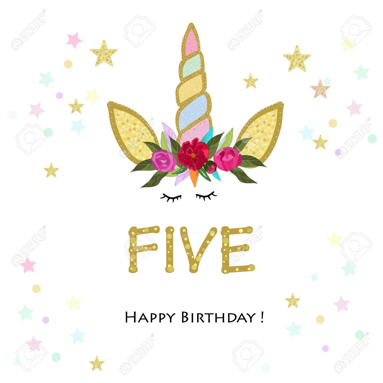 Fifth Birthday Five Unicorn Invitation Party Greeting Card Stock Vector