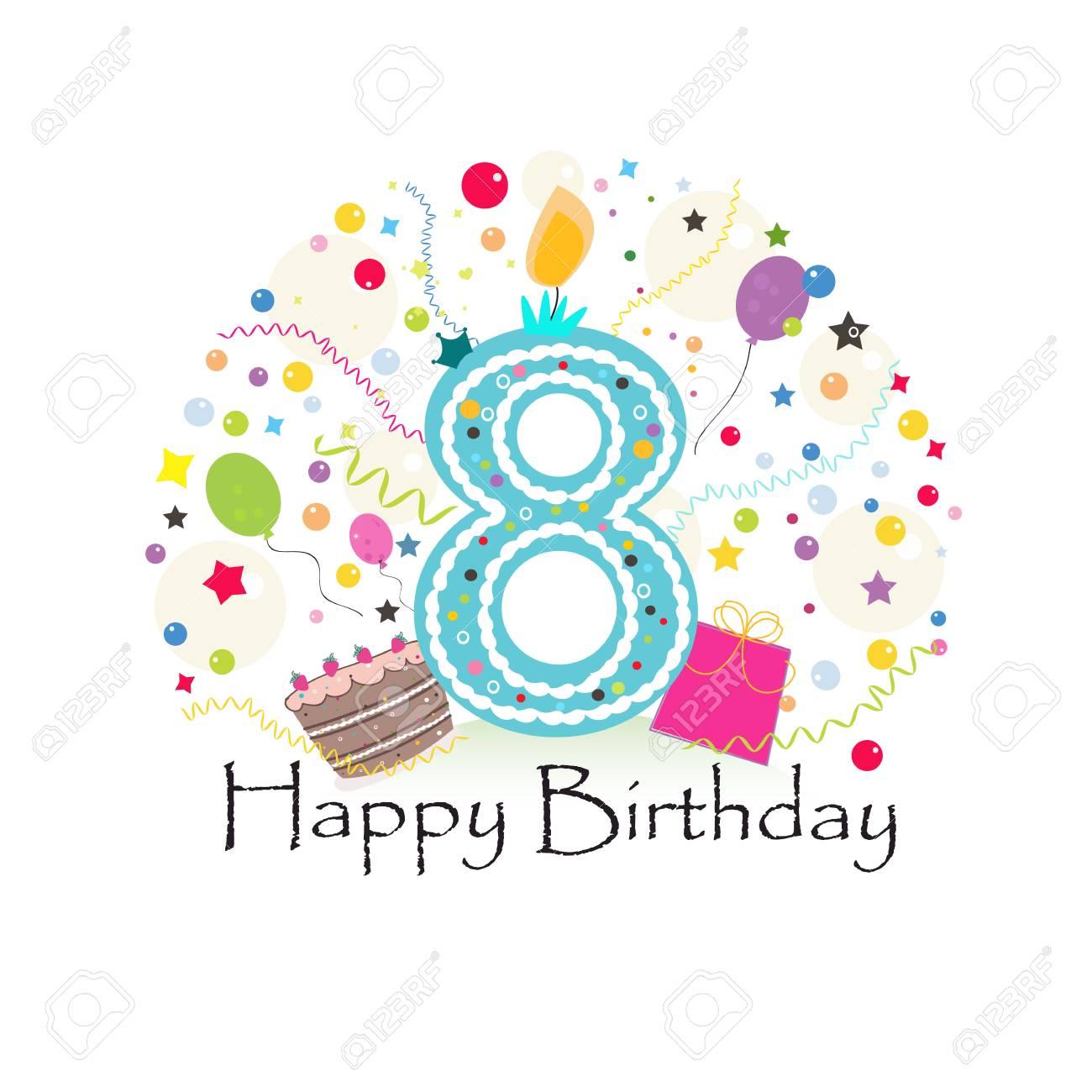 Eighth Birthday Greeting Card Standard Bild