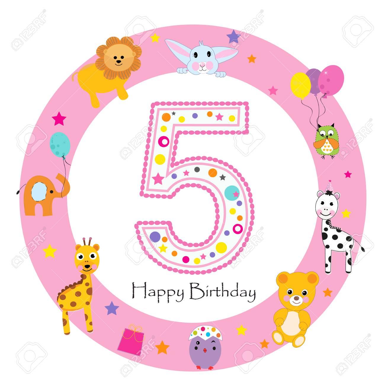 Happy Fifth Birthday Girl Birthday Train With Animals