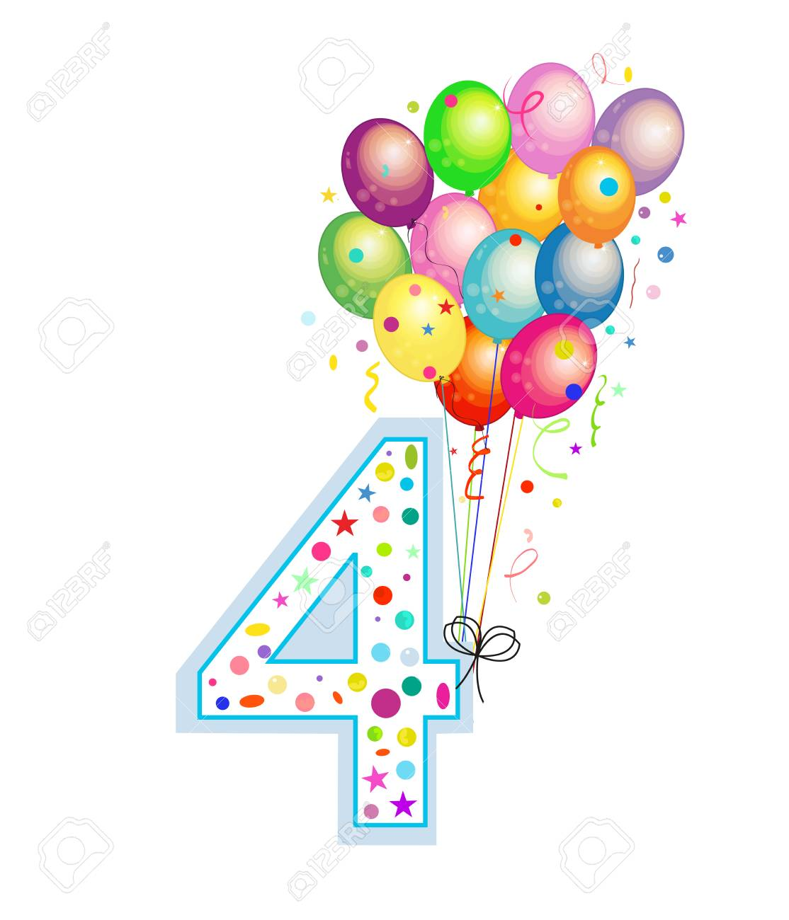 Happy Fourth Birthday Candle Four Numbered Balloon Colorful Balloons Greeting Card Background Stock