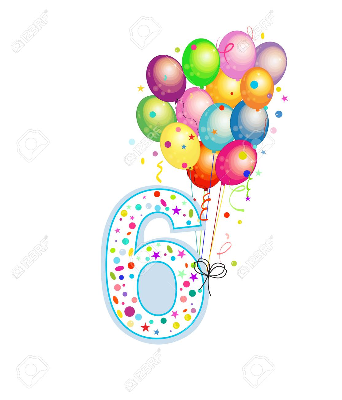 Happy Sixth Birthday Candle Six Numbered Balloon Colorful Balloons Greeting Card Background Stock
