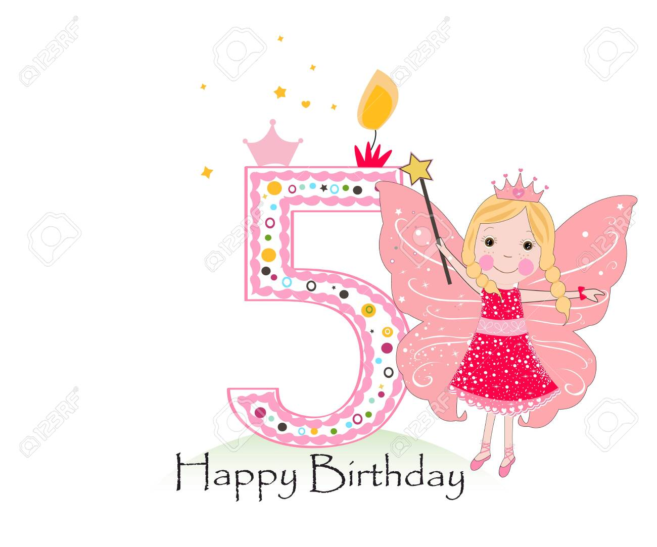 Happy five birthday candle. Baby girl greeting card with fairy tale vector background - 148916868