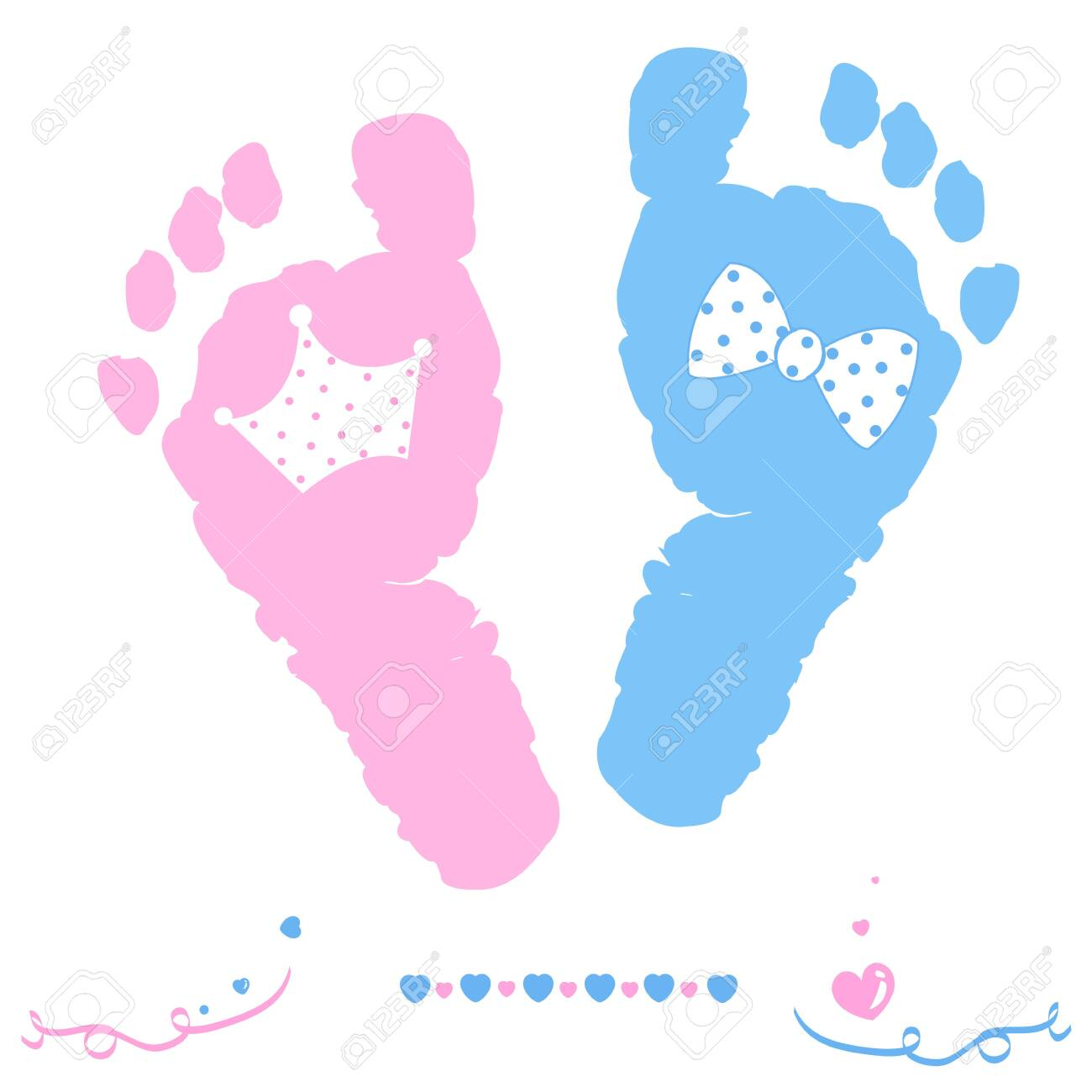 Twin baby girl and boy feet prints arrival greeting card with crown and tie bow vector - 148670519