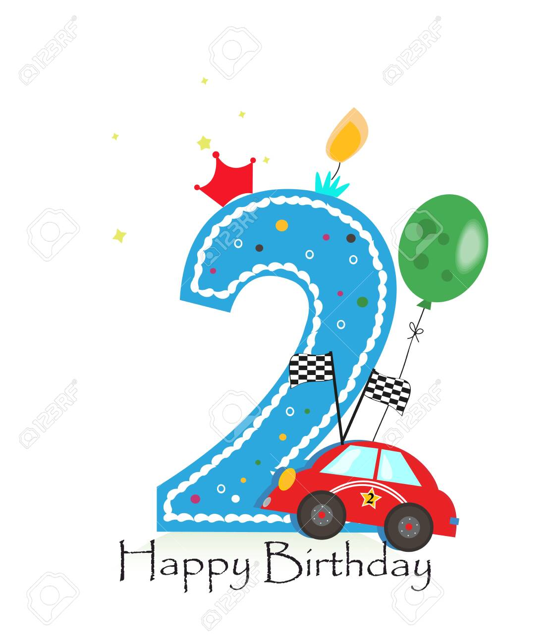 Happy second birthday candle. Baby boy greeting card with race car illustratio - 148630454