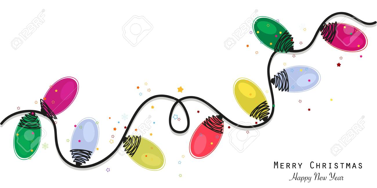 Colorful christmas light bulb greeting card vector illustration wallpaper background - 148134018