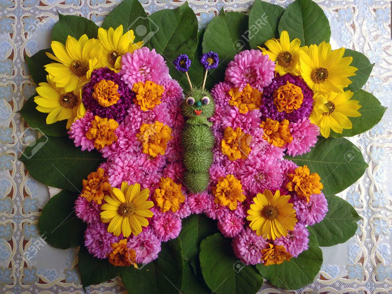Flower Arrangement In The Form Of A Butterfly Stock Photo Picture