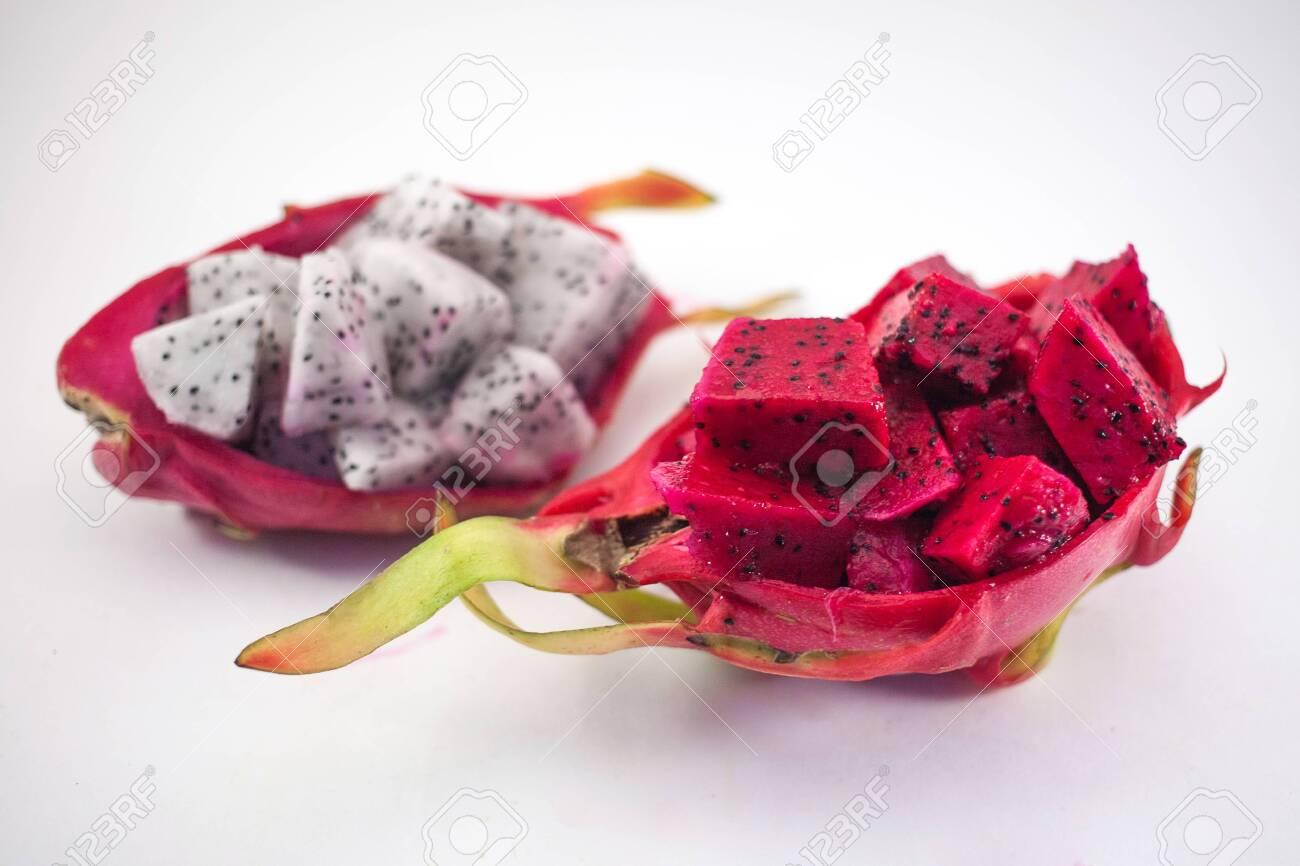 Exotic ripe pink and white Pitaya or Dragon fruit  Red Pitahaya