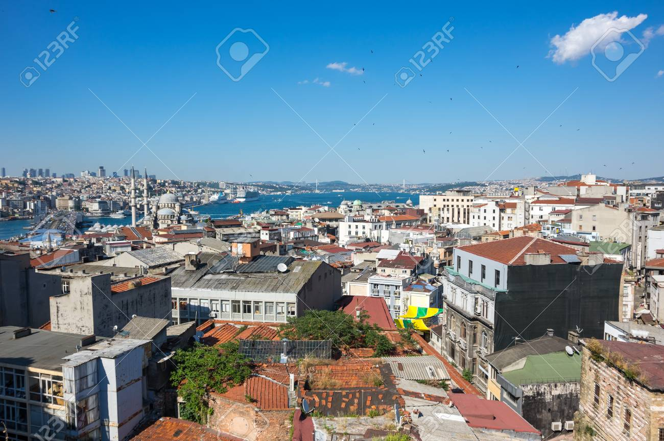 Panoramic view of Bosphorus, european and asian parts of Istanbul, Turkey  Stock Photo -