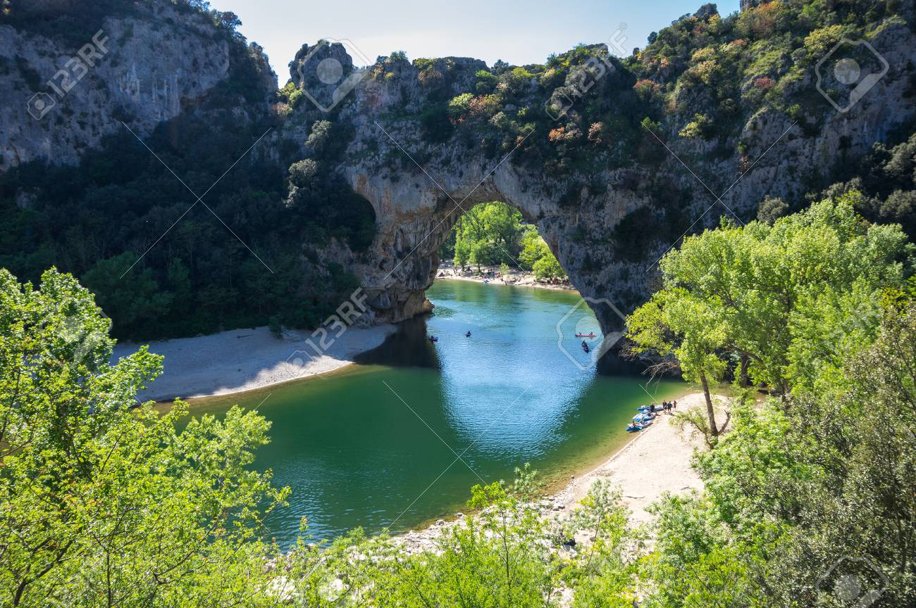 The Pont D Arc Is A Large Natural Bridge In Ardeche Canyon France