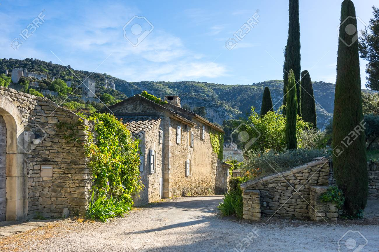 Street of town Oppede-le-Vieux in Provence, France - 95205832