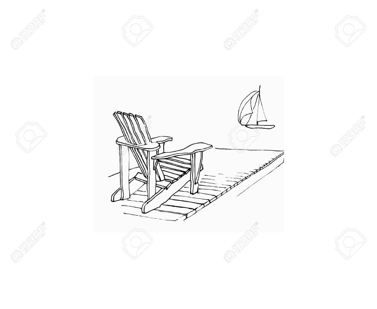 marker sketch of Adirondack chair on dock with sailing boat ..