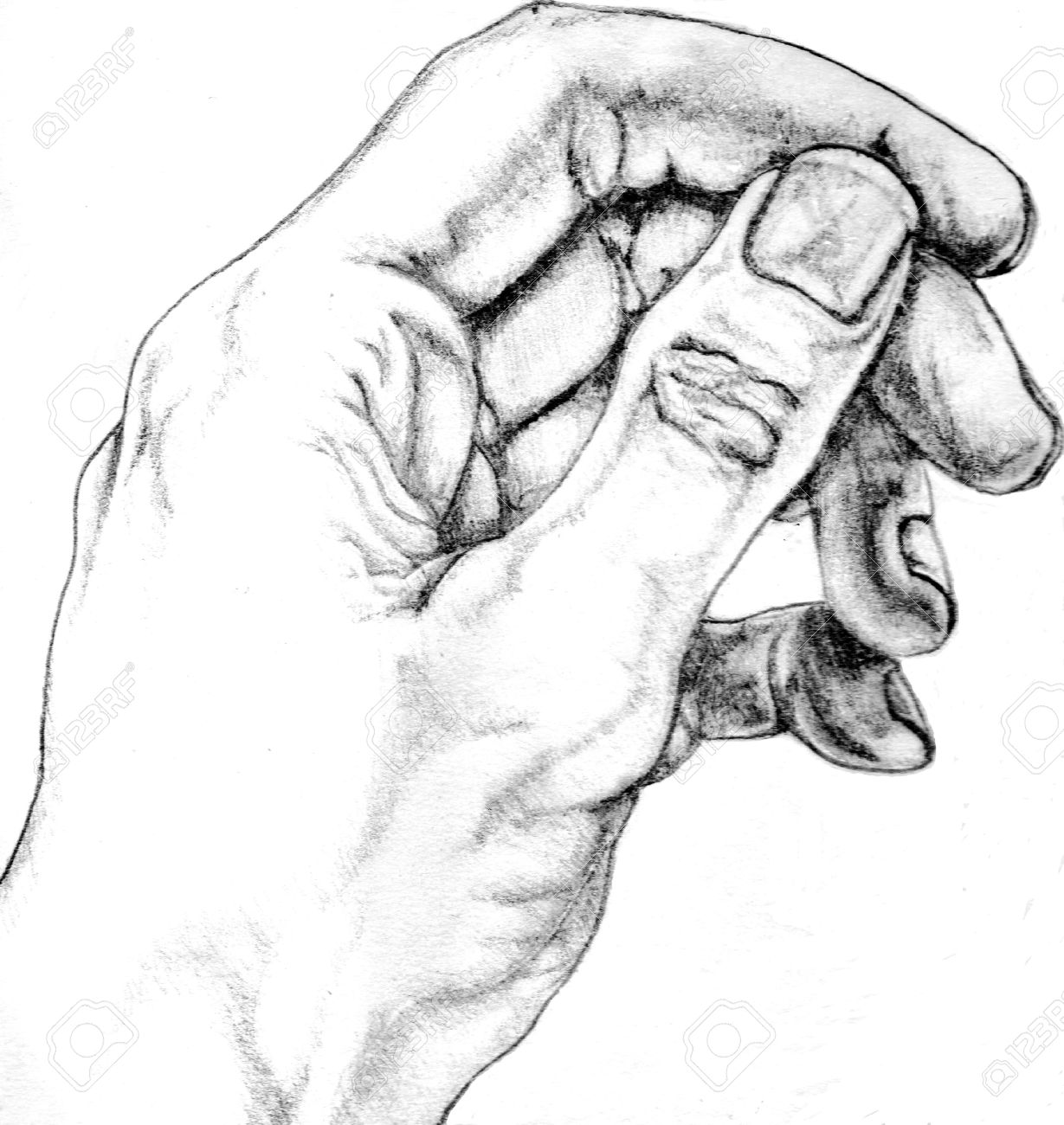 Pencil drawing of man s hand original artwork by contributor stock photo 22990098