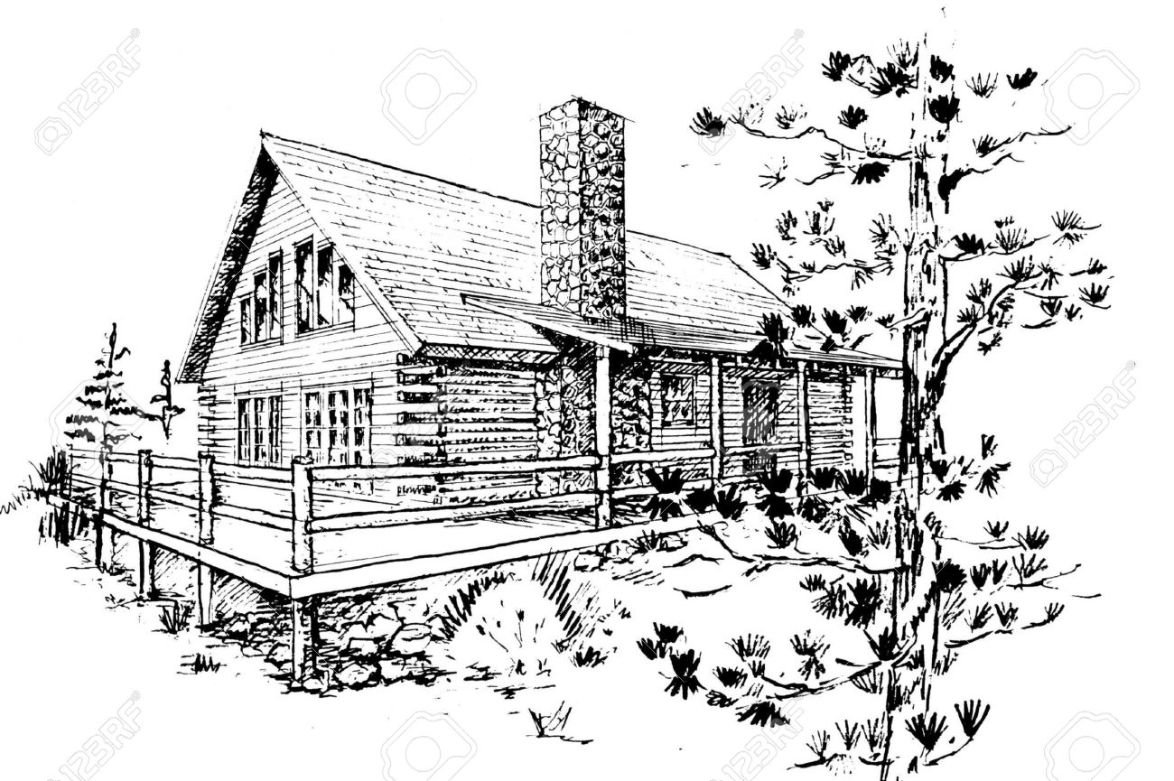 Hand Drawn Sketch Of Modern Log House Design rchitectural Design ... - ^