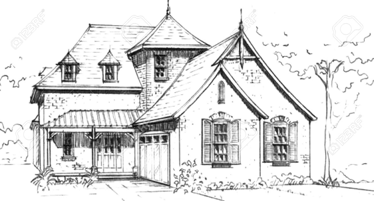 Hand Drawn Pencil Sketch Of French Country Style House Design