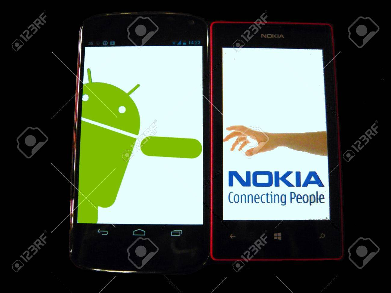 Nokia s hand logo parody  Nokia reach out to Android  Isolated