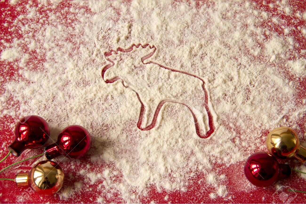 Christmas decoration - moose and red decorations Stock Photo - 16539007