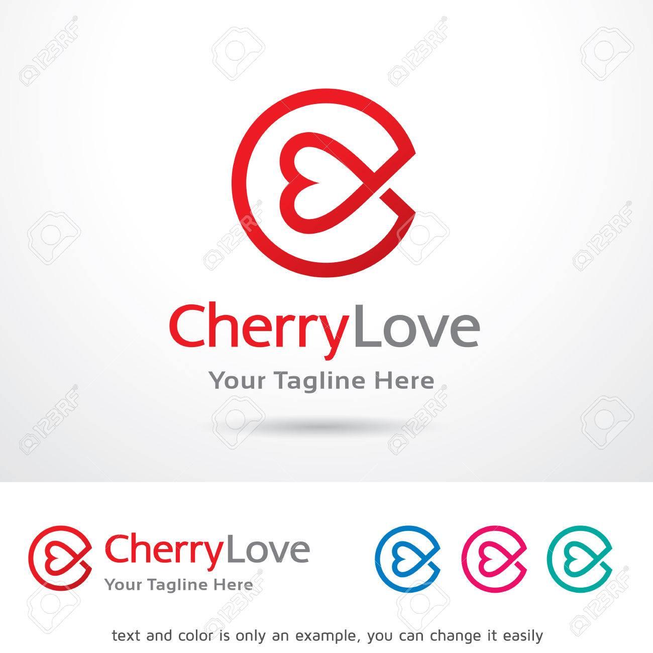 cherry love letter c template design vector stock vector 66567197