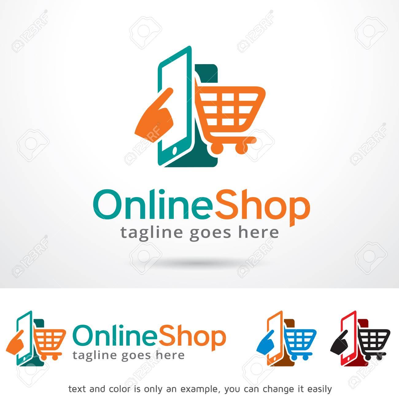 Online Shop Logo Template Design Vector Royalty Free Cliparts