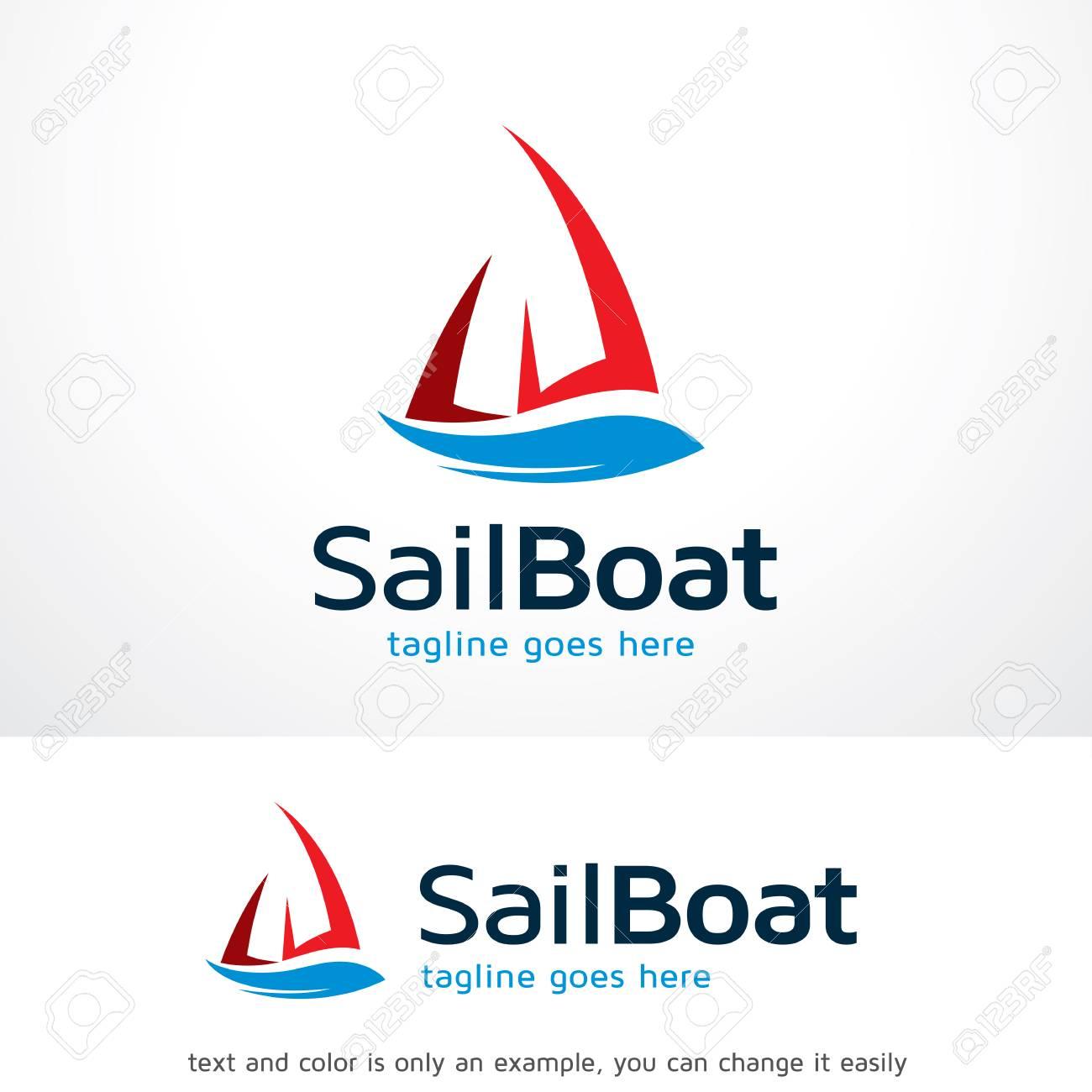 sail boat logo template design vector emblem design concept