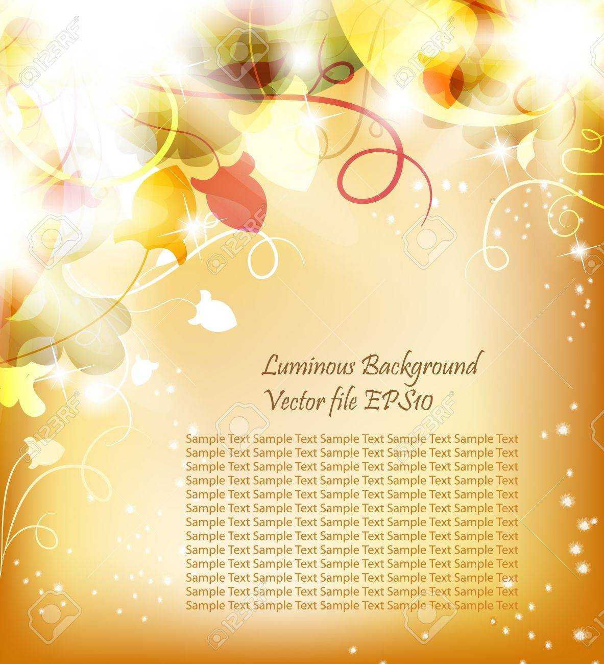 Golden Luminous background with flowers and bright light. Beautiful bright  harmonic colors. Place Your text if necessary. Stock Vector - 9356825