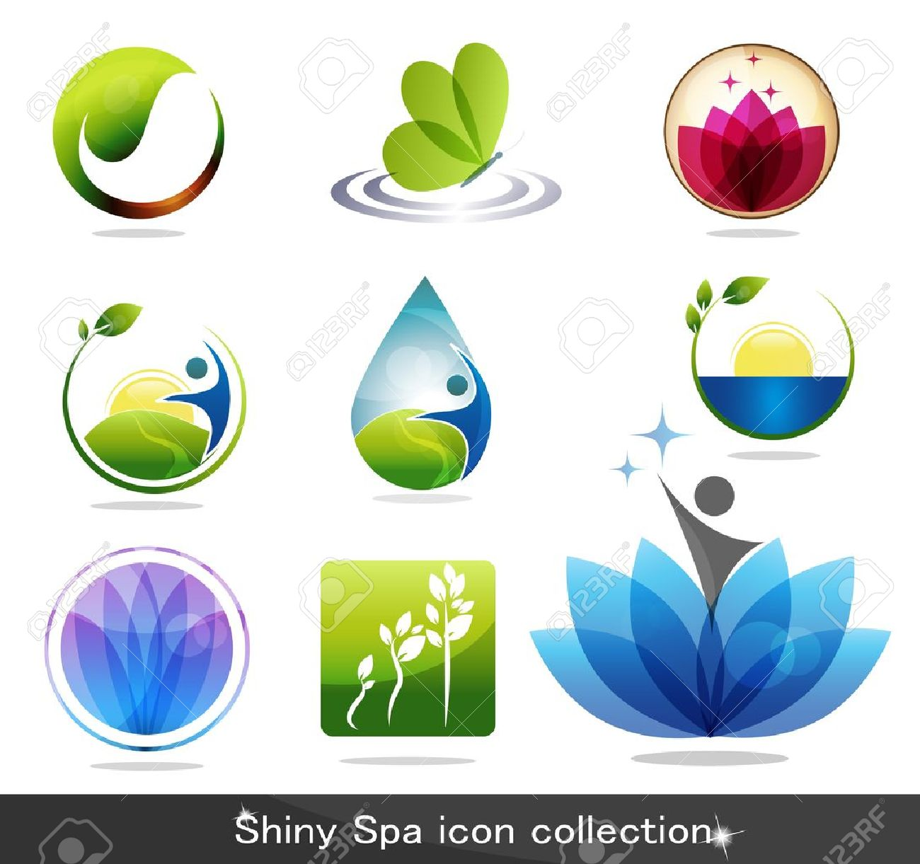 Beautiful spa icon collection, butterfly, flowers, foliage, drop and plant. Beautiful harmonic colors, can be used as company logo. Stock Vector - 11379752