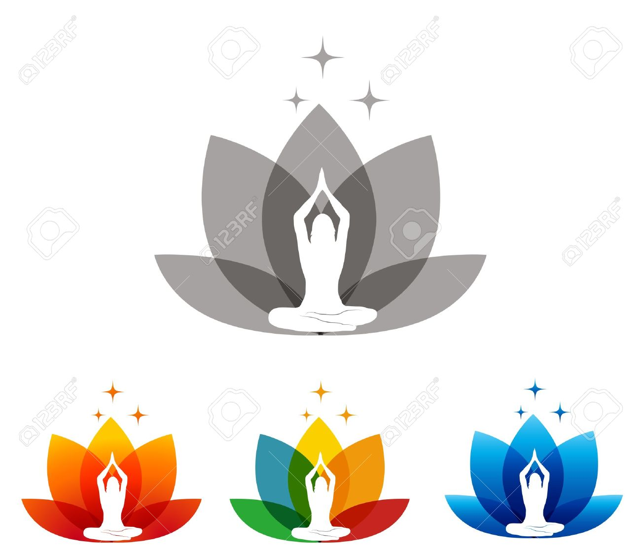 Lotus Flower And Woman In Yoga Pose Royalty Free Cliparts Vectors