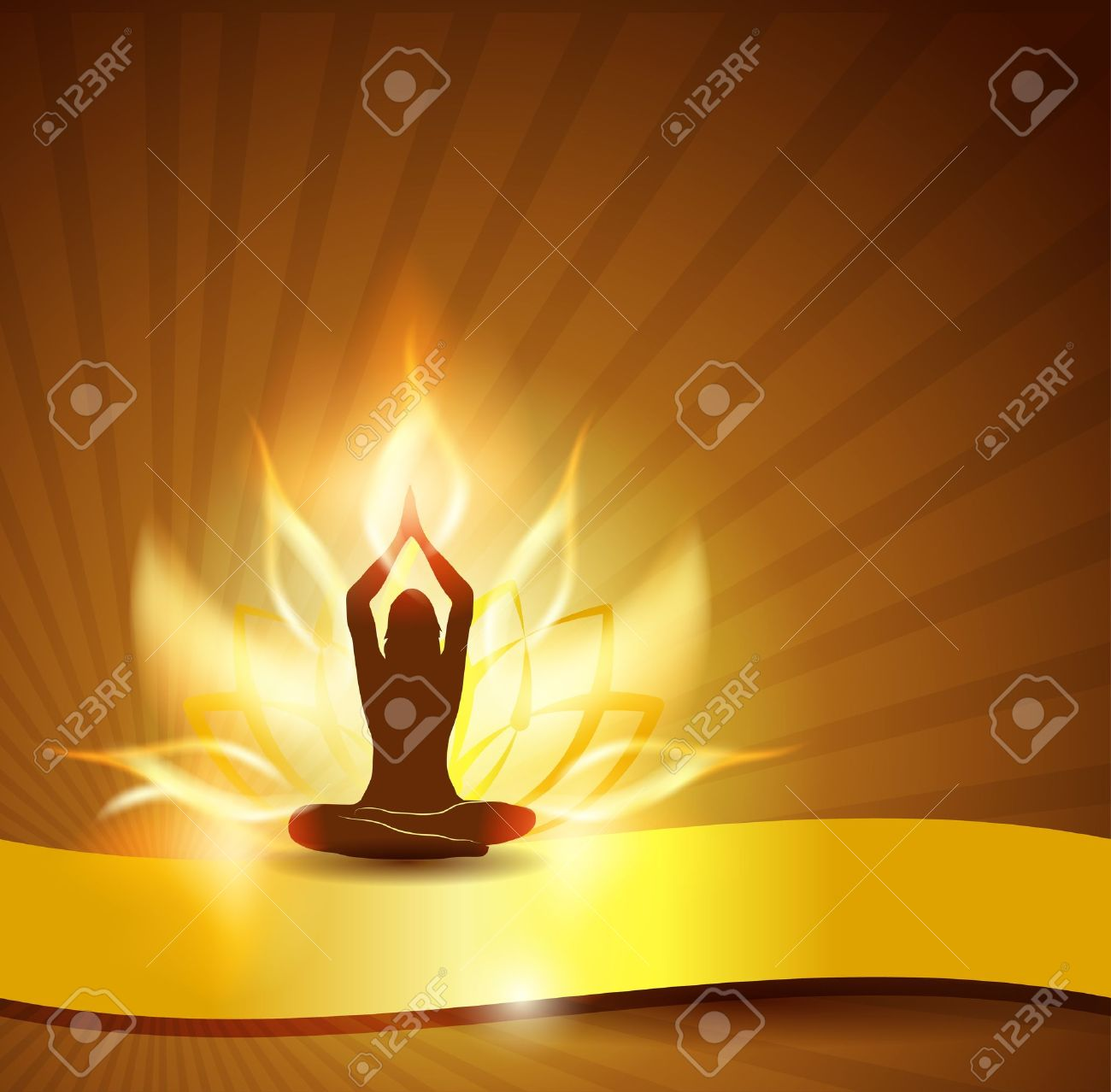 Beautiful Lotus Flower Like Fire Woman In Yoga Pose In The Front