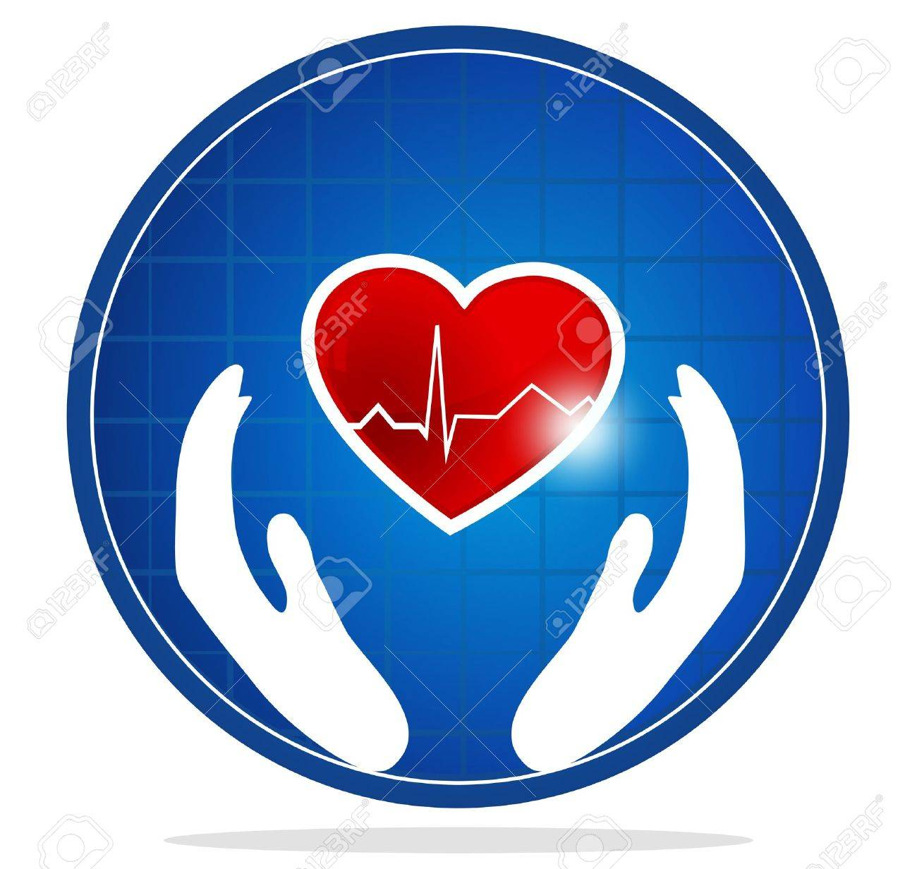 Cardiology and heart symbol  The heart shape symbolizes healthy heart beating and healthy blood circulation system  Hands symbolizes the healing and protection of human heart Stock Vector - 15862180