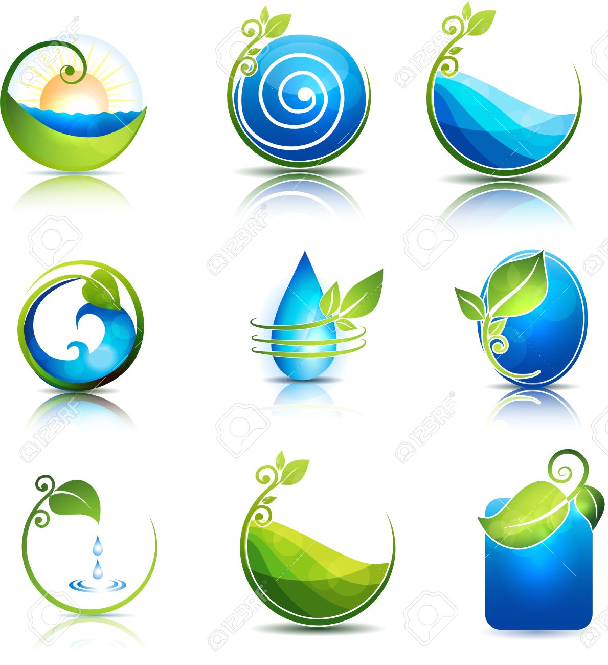Nature healing symbols water leafs waves and fields clean nature healing symbols water leafs waves and fields clean and fresh feeling stock vector biocorpaavc
