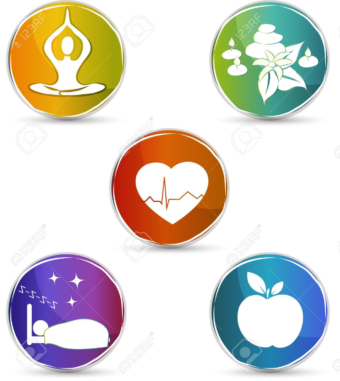Health symbols healthy heart healthy food good sleep yoga health symbols healthy heart healthy food good sleep yoga spa therapy colorful buycottarizona Images