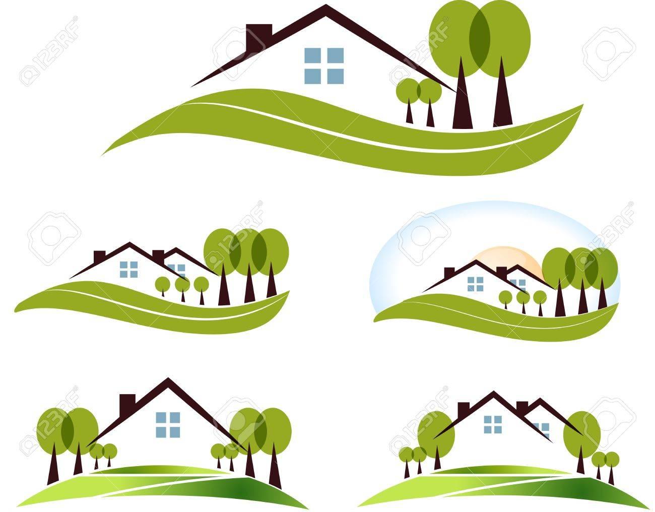 Maison Et Jardin Illustration Collecte Beau Jardin, Des Arbres Et ...