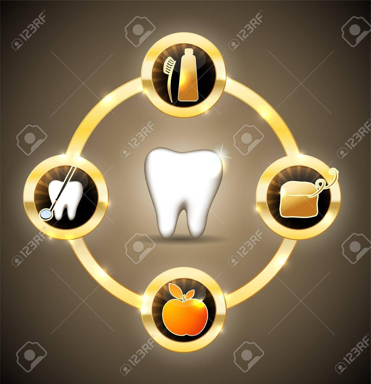 Healthy teeth wheel  Golden design Stock Vector - 21953261