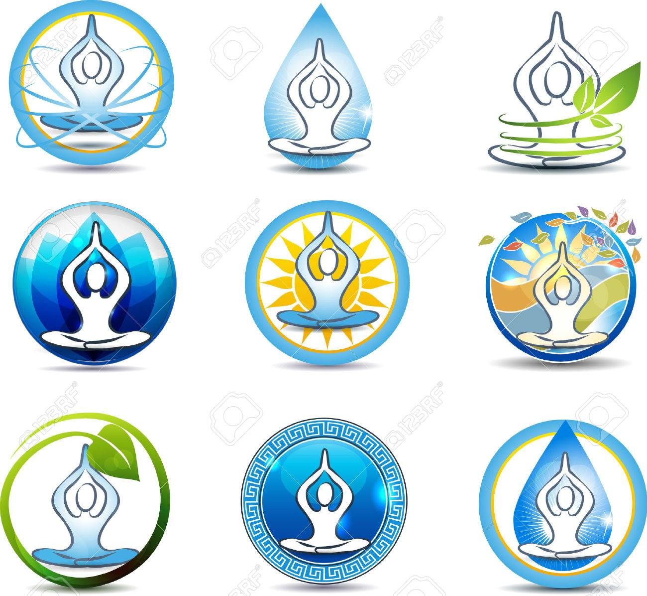 Beautiful Yoga Relaxation Symbols Nature Involved In Human Royalty Free Cliparts Vectors And Stock Illustration Image 23074649