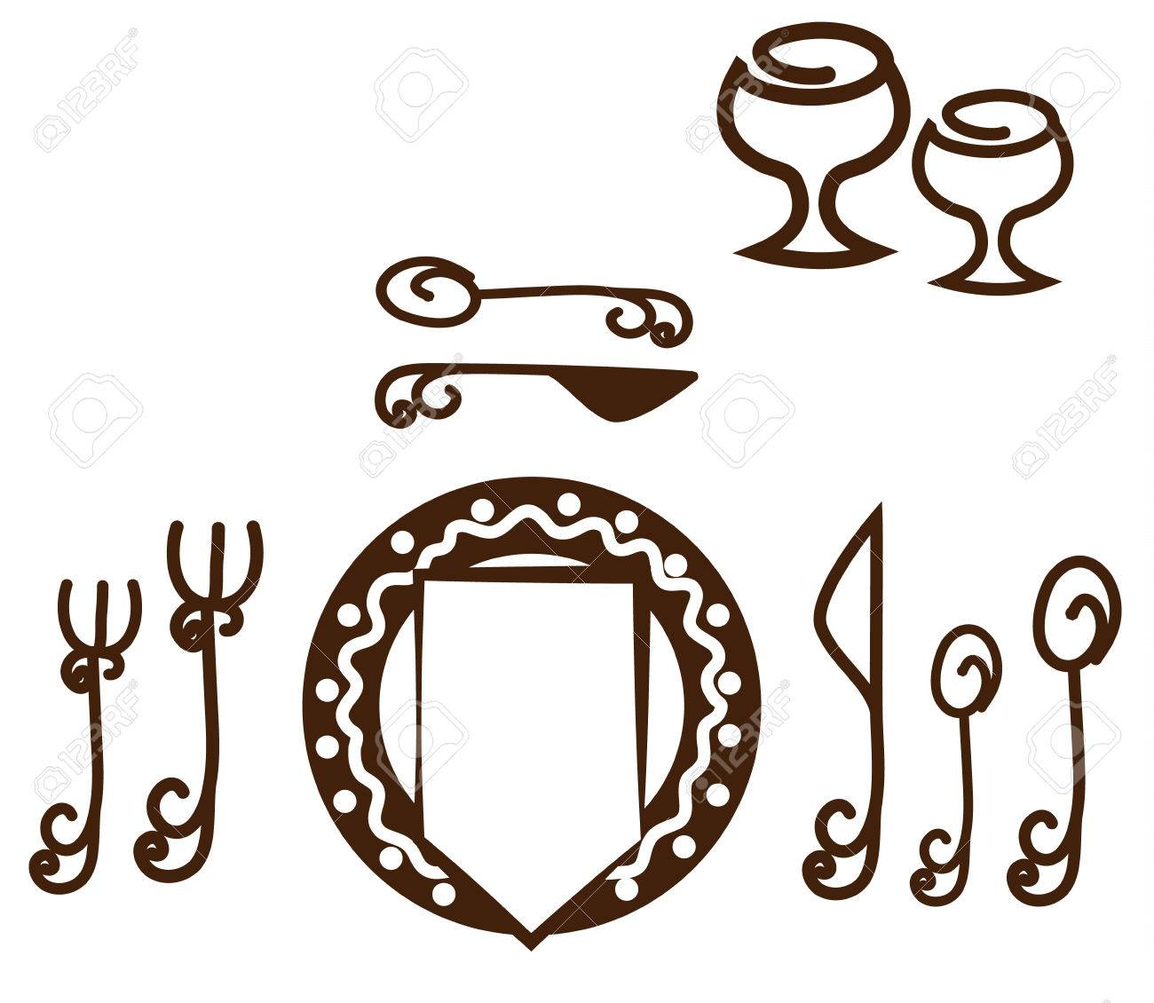 Delightful Table Setting Placement Part - 14: Informal Table Setting Placement. Artistic Design Tableware. Isolated On A  White Background. Stock