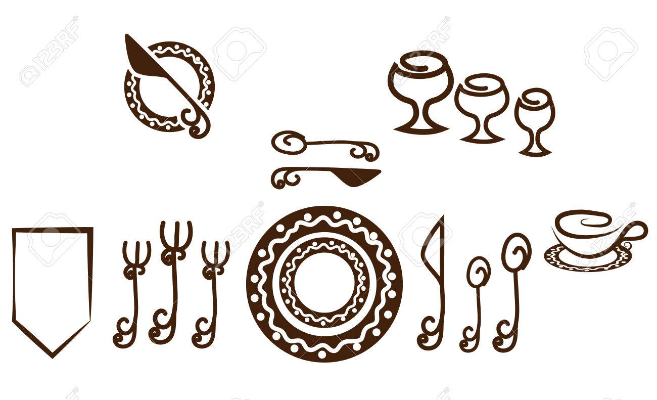 Lovely Table Setting Placement Part - 10: Formal Table Setting Placement. Artistic Design Tableware. Isolated On A  White Background. Stock