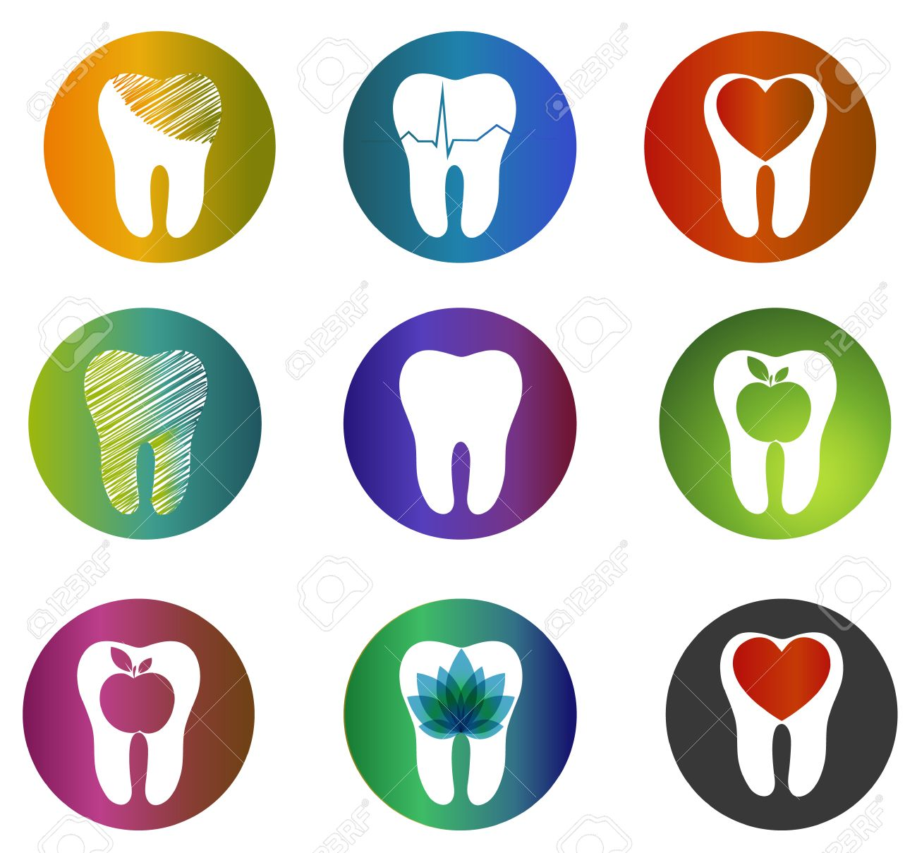 Huge Collection Beautiful Dental Symbols Various Bright Colors