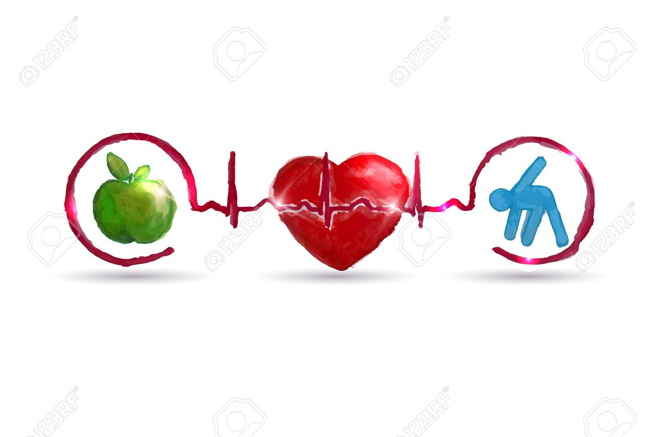 Watercolor Cardiology Health Care Symbols Connected With Heart