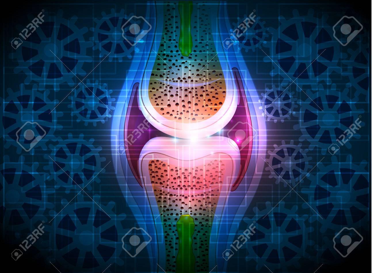 Gemeinsame Anatomie, Zahnräder Blau Technologie-Hintergrund ...