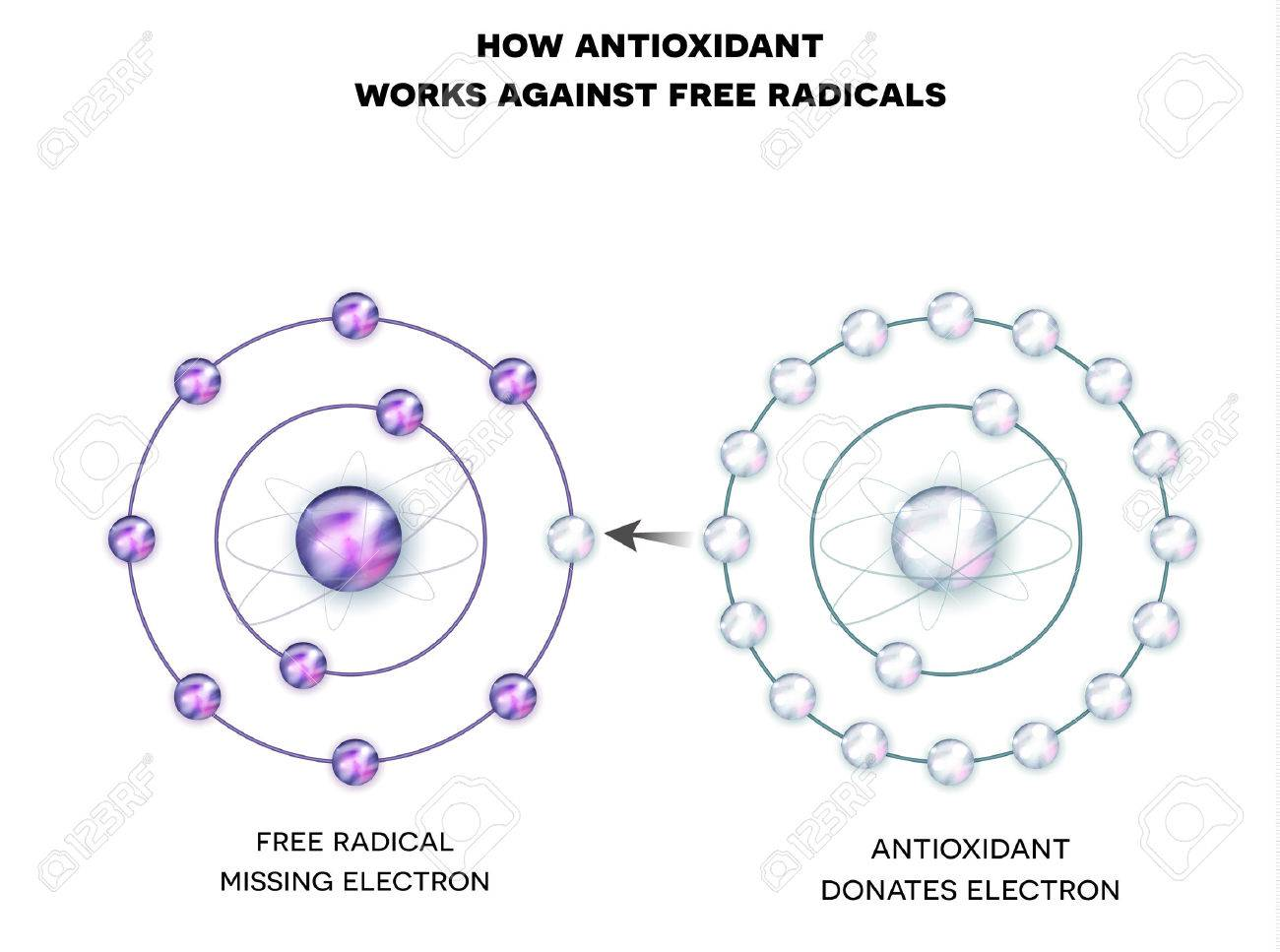 How antioxidant works against free radicals. Antioxidant donates missing electron to Free radical, now all electrons are paired. Banque d'images - 67396215