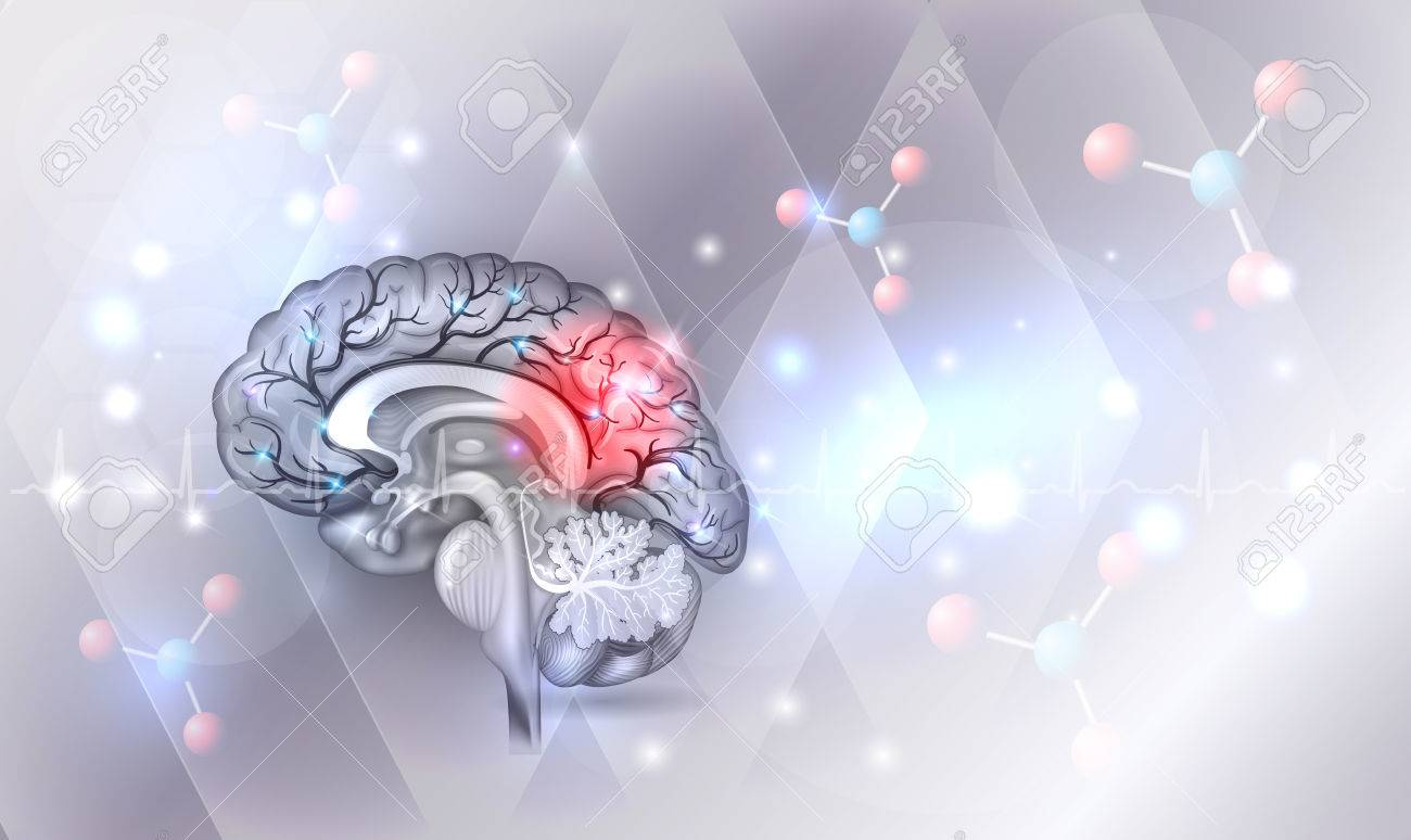 Human brain abstract light grey abstract background with glow - 82408819