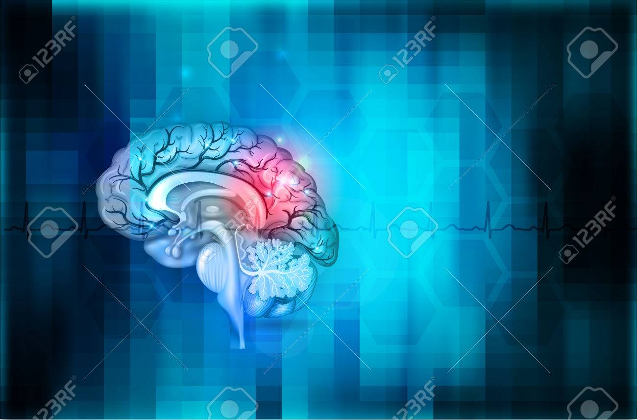 Human Brain Abstract Blue Background Beautiful Colorful